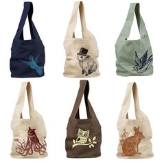Whimsical Tote Bags by Deadworry on Etsy