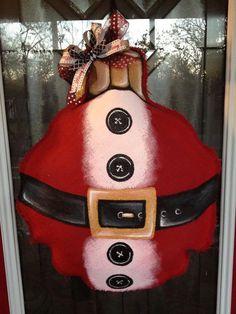 100% Custom Made to Order Red Burlap Santa Suit Ornament  Door/Wall/Mirror Hanger. $40.00, via Etsy.
