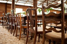Farm tables and eclectic wooden chairs ... love! Photography by avery-photography.com