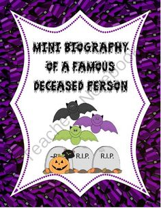 Halloween (Famous Deseased Person Report)! Enter for your chance to win 1 of 3.  Halloween (Famous Deceased Person Report) (4 pages) from Laila_Camacho on TeachersNotebook.com (Ends on on 9-30-2014)  The project for Halloween! One of the most odd and fun projects that I've done. This makes a great history assignment- especially during the month of October. Research a famous deceased person!