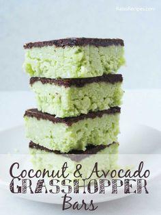No Bake Vegan Dessert! Paleo Coconut & Avocado Grasshopper Bars - the perfect healthy dessert!