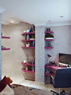 Lively Teen Bedrooms, pink shelves interesting....