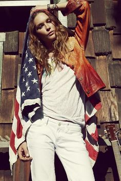 flags, fashion models, erin wasson, soft grunge, star, jackets, 4th of july, blog, leather