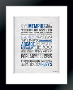 City Typography Prints Memphis Places White by lindseyEarcher, $16.00