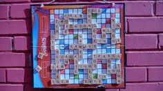 Hanging Scrabble Board; can be made magnetic with a cookie sheet, fabric and pens! Great for upper extremity strengthening and Rom