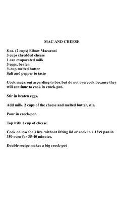 mac n cheese crockpot for three hours or bake 40 min