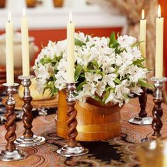 white flowers, fall flowers, decorating ideas, thanksgiving centerpieces, flower ideas, thanksgiving table, table linens, candlestick, table centerpieces