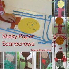 Sticky Paper Scarecrows by Teach Preschool