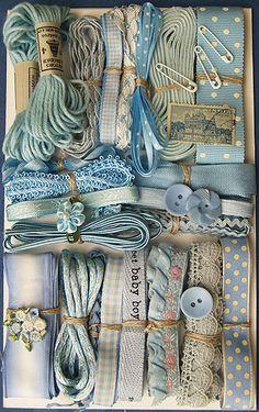 Crazy Quilt Embellishment Assortment - Blue Light