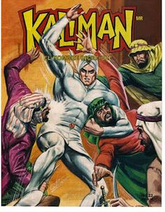 Growing up in Mexico, I read Kaliman, and homie struck me as odd.  Vaguely Arab, with hints of telepathic superpowers.  He looks dope in the all white, though, that's a good look on him.  Here he's seen beating up on the dudes that are supposed to be giving Baby Jesus his gifts