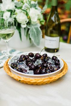 Iced cherries paired with Pinot Gris are the perfect hot-weather treat.