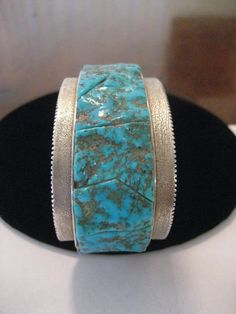 Fine Zuni Sterling High Grade Blue Gem Turquoise Cuff, Yvonne & Eugene Mahooty