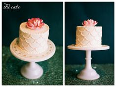 scallop cake with fondant peony    image @Blanca Prado loft studio    lil hoot: wedding wednesday: mermaid of honor