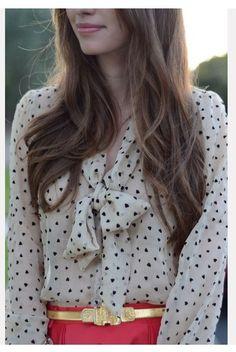 polka dot bow blouse