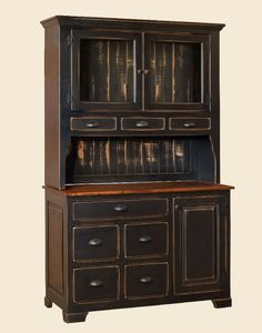 "Mandies Hutch is handmade by the Amish.  Your piece will be built with Premium Grade Eastern White Pine wood.  You will see some deformities and knots that come naturally with eastern pine.   Measures: 50"" W x 80"" H x 20.75 D Shown in Sand-Thru Black paint W/ Michael's Cherry Top."