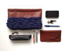 Wool Leather clutch.