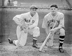 (l to r:) Boston Red Sox Carl Reynolds and Cleveland Indian Joe Vosmik at Fenway Park in 1934.