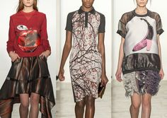 Ostwald Helgason A/W 2014/15-Humorous Warhol Graphics – Metallic Abstract Prints – Lurex Sheen – Branch and Tree Texture – Drip and Paint Splatters – Sheer Dimensions – 3-D Tricks – Iridescent Sculptural Fabrics – Animal Skin Surfaces