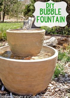 Instructions on how to make this easy Bubble Fountain for your backyard or porch DIY