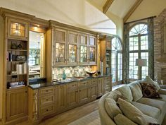 Nice built-ins with wet bar and lots of storage space