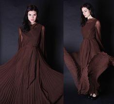 Mollie Parnis Dress  Long Brown Dress  1970s Maxi  by aiseirigh, $278.00