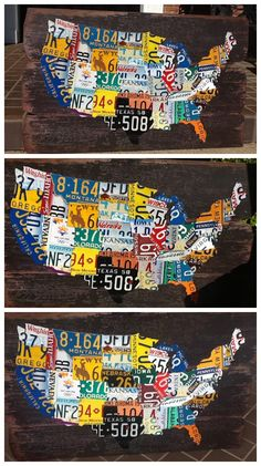 DIY License plate map project, craft, plate diy, plates, maps, plate map, licensepl map, licens plate, diy licensepl
