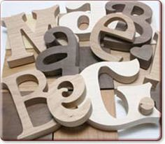 Large Wooden Letters & Numbers website. order different fonts