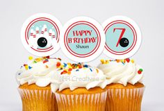 Personalized Bowling Birthday Cupcake Toppers  DIY by NHACreatives, $6.50