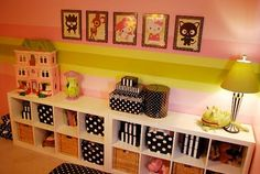 Great storage! polka dots, girls polka dot room, decorating ideas, bookcas, girl bedrooms, shelv, kid room, girls bedroom painting ideas, girl rooms