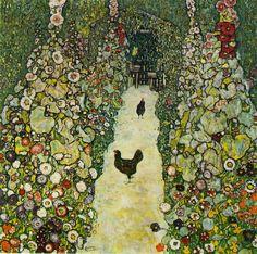 Garden path with chickens by Klimt