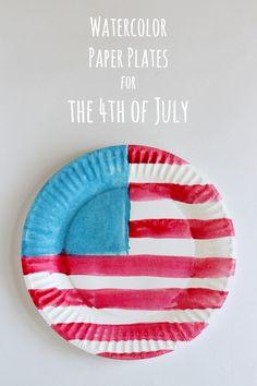 Watercolor American Flag Paper Plates via @Yaffa Rasowsky and Takes | Kids Craft Ideas