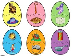 Free! Egg-cellent Rhyming Game...mix and match game for 12 CVC rhyming words combine egg halves by matching pictures that rhyme.