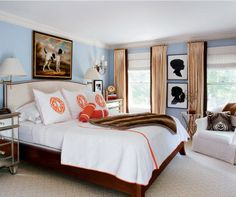 wall color with orange linens, silhouettes
