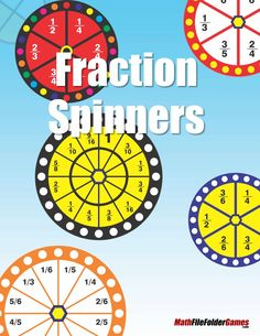 Here is a collection of 12 different fraction spinners that are great and simple to use in replace of dice when playing math games. http://www.mathfilefoldergames.com/fraction-spinners/ FREE #Fractions