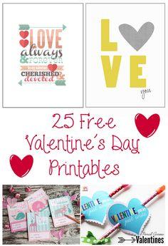 25 Free Valentine's Day Printables + Bonus #free #valentine #printables