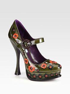 FALL!!  Prada - Flower Leather Mary Jane Platform Pumps
