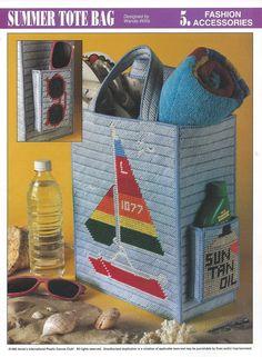 Plastic Canvas Sheets | Sailboat Tote Bag Plastic Canvas Pattern