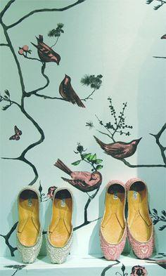 Modern wallpaper: Pavilion Birds print by Louise Body