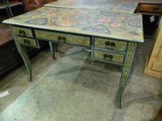 "Hand Painted Writing Desk  NR167 - $276  46""W x 24""D x 30""H  #NadeauNashville"