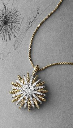Starburst Small Pendant with Diamonds in Gold on Chain