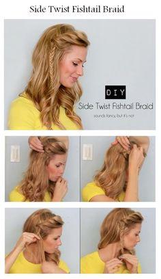 french braids, hair colors, hair tutorials, hairstyle tutorials, side twist, twist fishtail, braid hairstyles, bangs, fishtail braids