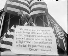 Verbose even on campaign posters, Teddy Roosevelt speaks from rail car in Boston on the campaign trail. (Photo: Boston Public Library, Leslie Jones Collection.)