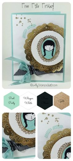 Sweet Card with the Sweetie Pie Stamp Set. Doily colored gold! Free downloadable/printable tutorial on the blog.