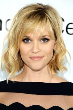 Reese Witherspoon choppy lash length airy bangs with gentle A-line bob. Harper's Bazaar Februarry 2014