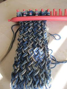 loom knitting - may adapt this for an infinity scarf