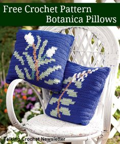 FREE Botanica Pillows Pattern from Talking Crochet Newsletter. Sign up for this free newsletter here: http://www.anniesnewsletters.com