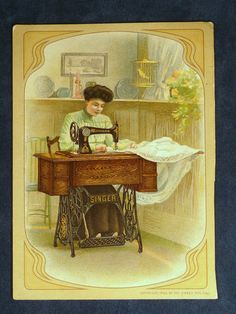 French Singer Sewing Machine La Table Cabinet Victorian Trade Card