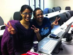 Girls having fun at the Stony Brook University's International Women's Hackathon!