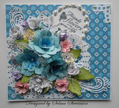 All these flowers were created with Cheery Lynn dies.  This card won their challenge.