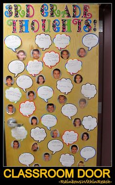 Classroom door idea. I may have my fourth graders share a little advice with my incoming fourth graders. Love it!!!